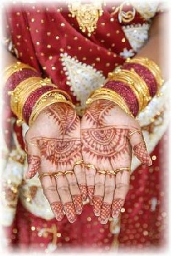 Henna design on an East Indian woman`s hands